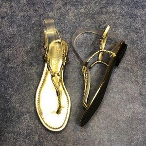 LAUREN RALPH LAUREN~Braided Metallic Thong Sandals